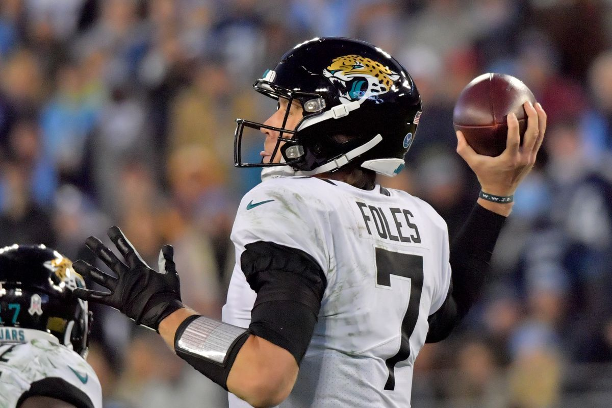 Jacksonville Jaguars quarterback Nick Foles passes against the Tennessee Titans during the second half at Nissan Stadium.