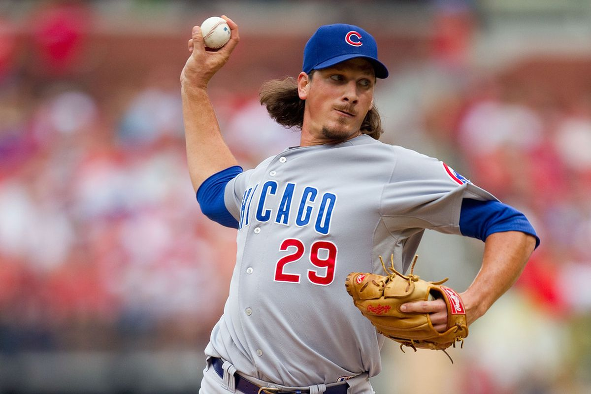 Reliever Jeff Samardzija of the Chicago Cubs pitches against the St. Louis Cardinals at Busch Stadium on July 30, 2011 in St. Louis, Missouri.  (Photo by Dilip Vishwanat/Getty Images)