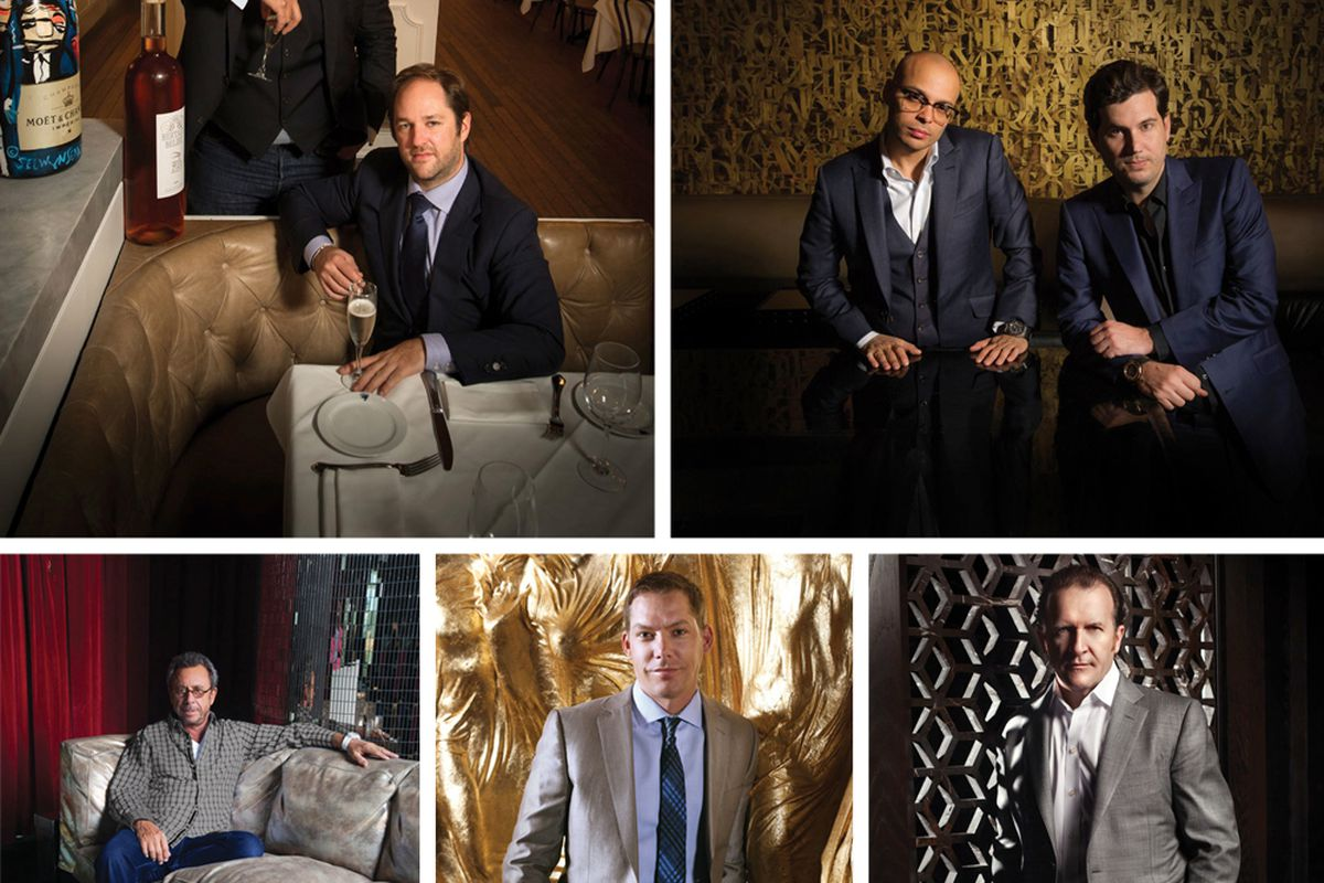 Clockwise from top: Remi Laba and Aymeric Clemente, Scott Sartiano and Richie Akiva, Neil Moffitt, Jesse Waits and Victor Drai.
