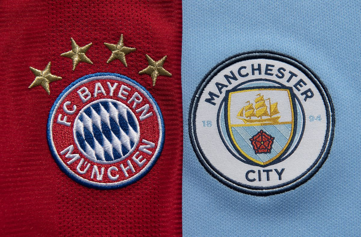 The FC Bayern Munich and Manchester City Club Badges