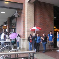 Even on a rainy day, the line winds around the corner.