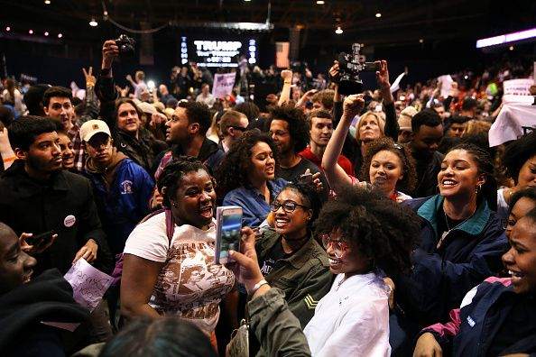Black and brown activists at the Trump rally in Chicago.