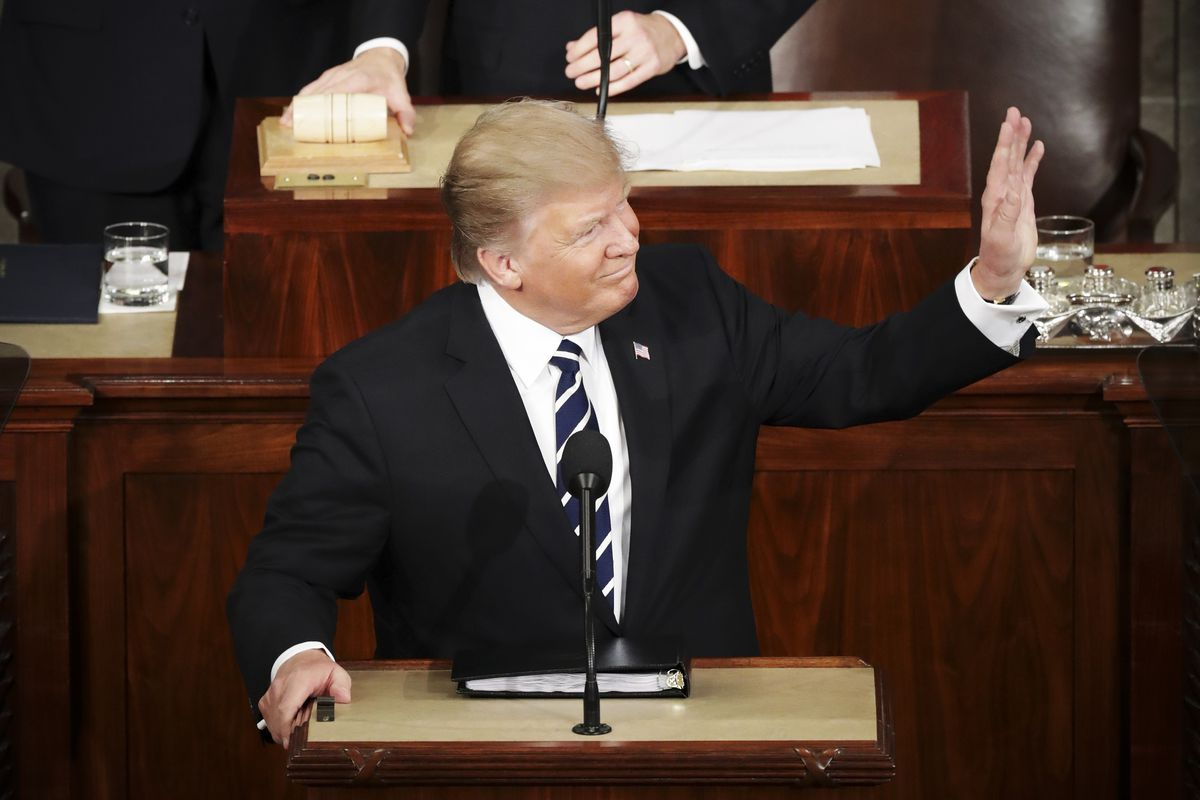 WASHINGTON, DC - FEBRUARY 28: U.S. President Donald Trump addresses a joint session of the U.S. Congress on February 28, 2017 in the House chamber of the U.S. Capitol in Washington, DC. Trump's first address to Congress focused on national sec