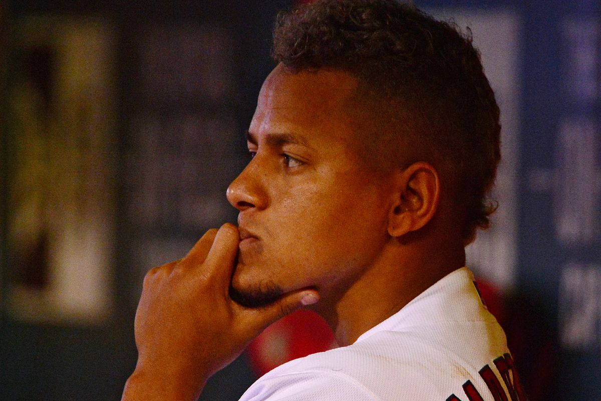 here is a picture of carlos martinez wondering what the hell is happening in the top of the 9th