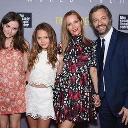 Maude Apatow, Iris Apatow, Leslie Mann, and Judd Apatow at the New York premiere of <i>Trainwreck</i>.