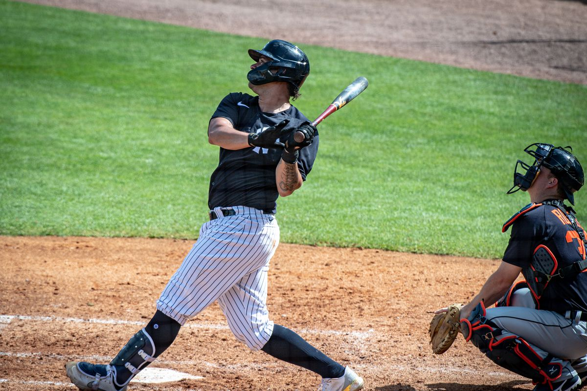 Yankees player Gary Sanchez hits a homer against Detroit Tigers during spring training 2021