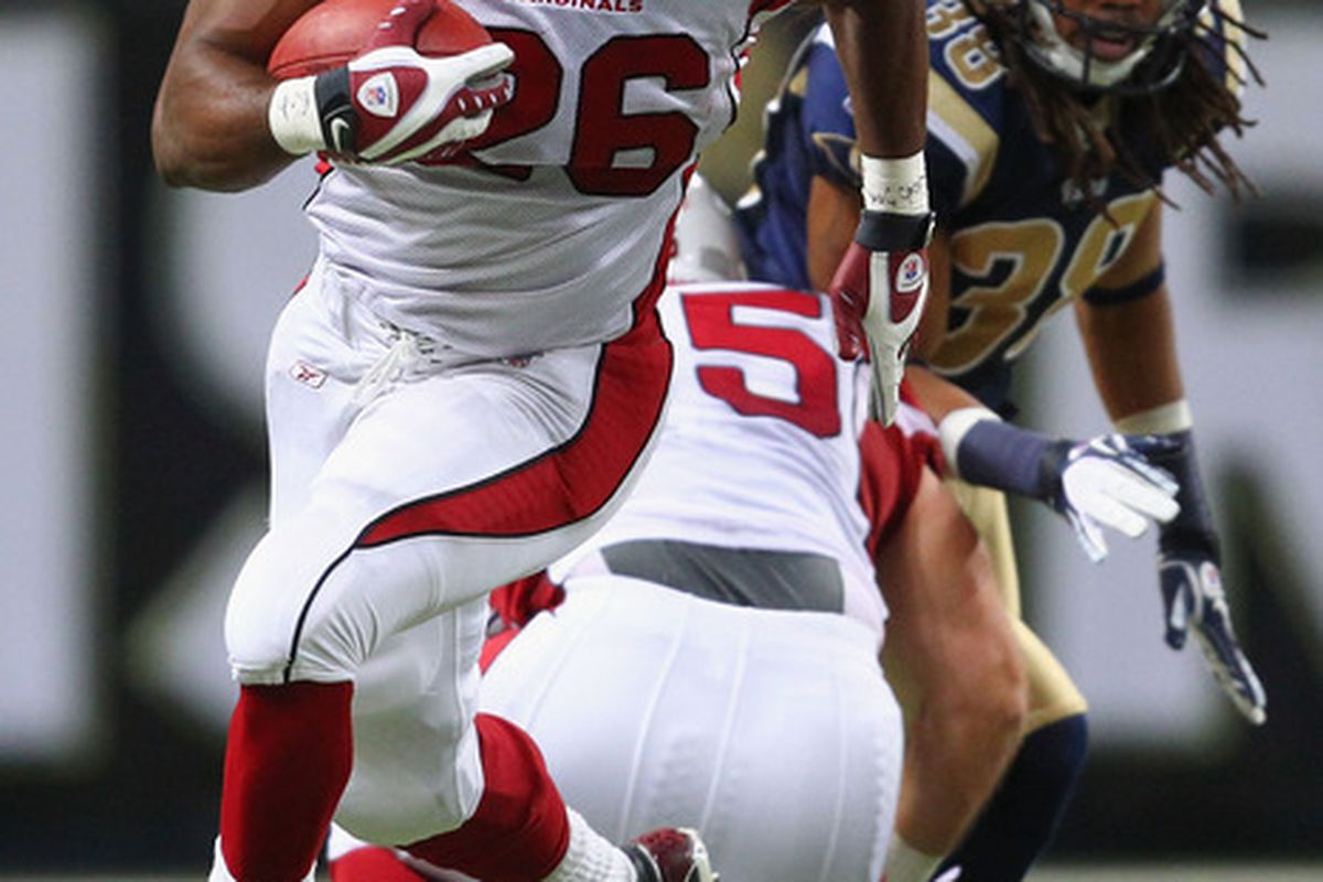 Beanie Wells #26 of the Arizona Cardinals rushes against the St. Louis Rams at the Edward Jones Dome on November 27, 2011 in St. Louis, Missouri.  (Photo by Dilip Vishwanat/Getty Images)
