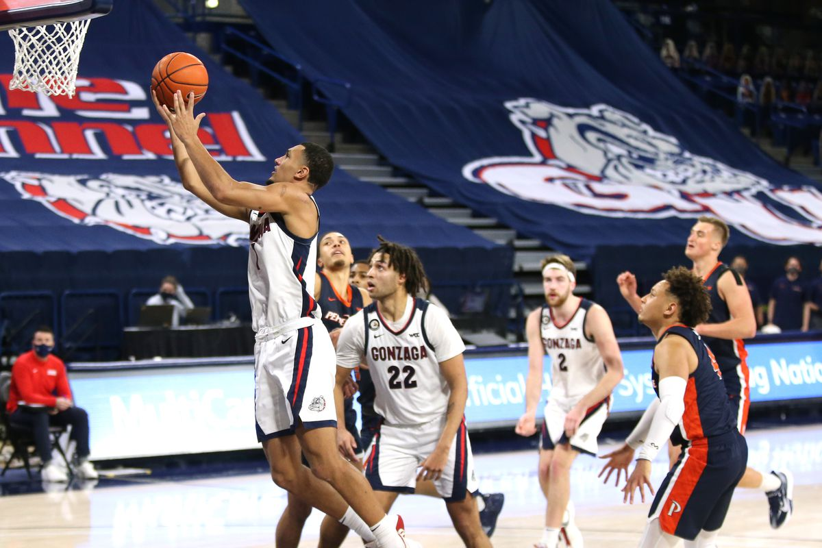 Jalen Suggs of the Gonzaga Bulldogs goes to the basket against the Pepperdine Waves in the second half at McCarthey Athletic Center on January 14, 2021 in Spokane, Washington. Gonzaga defeats Pepperdine 95-70.