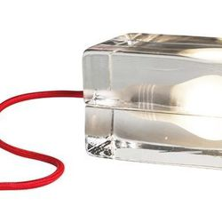"""Block Lamp ($139) - A hot light bulb is contrasted with surrounded """"ice."""""""