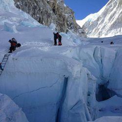 Khumbu Ice Fall climbing.