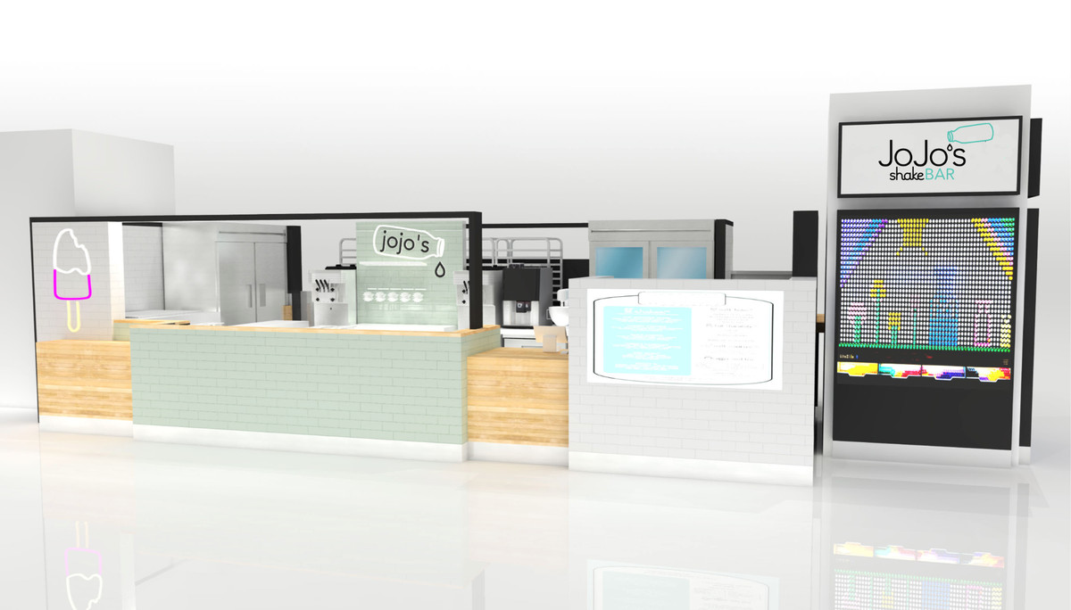A computer rendering of a shake kiosk with a natural wood counter and ice cream machines.