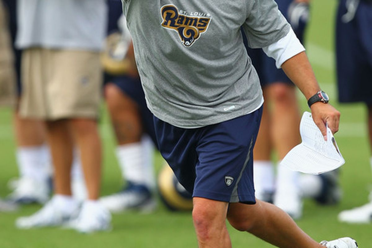 EARTH CITY, MO - JULY 31:  Offensive coordinator Josh McDaniel of the St. Louis Rams directs members of the offense during training camp at the Russell Training Center on July 31, 2011 in Earth City, Missouri.  (Photo by Dilip Vishwanat/Getty Images)