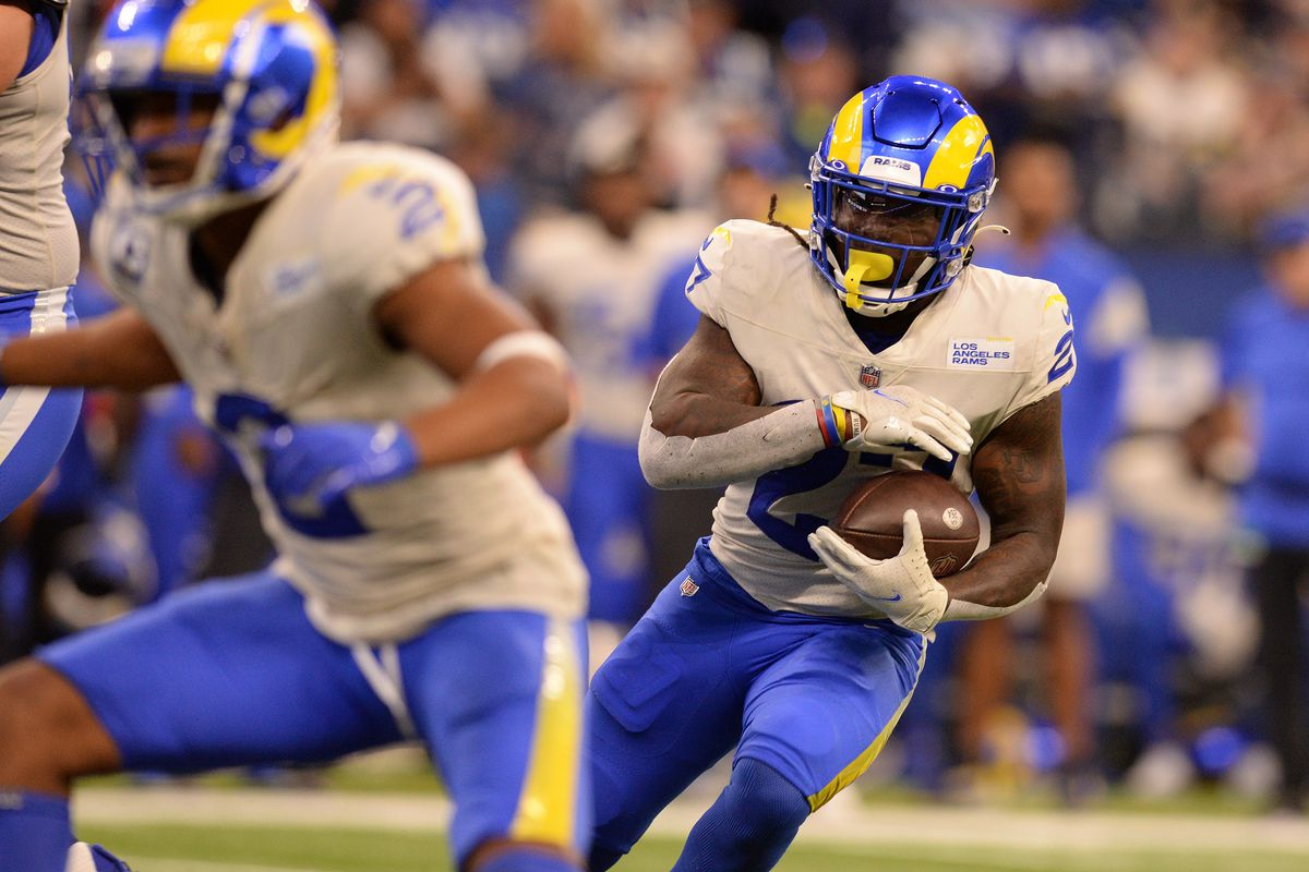 Los Angeles Rams Running Back Darrell Henderson (27) rushes with the ball during the NFL football game between the Los Angeles Rams and the Indianapolis Colts on September 19, 2021, at Lucas Oil Stadium in Indianapolis, Indiana.