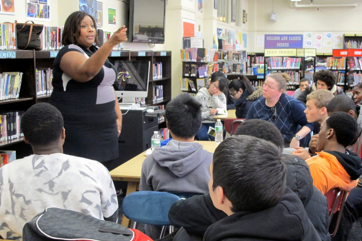 Candis Tolliver from the New York Civil Liberties Union spoke with students at East Side Community School in 2014 about how to interact with the police.