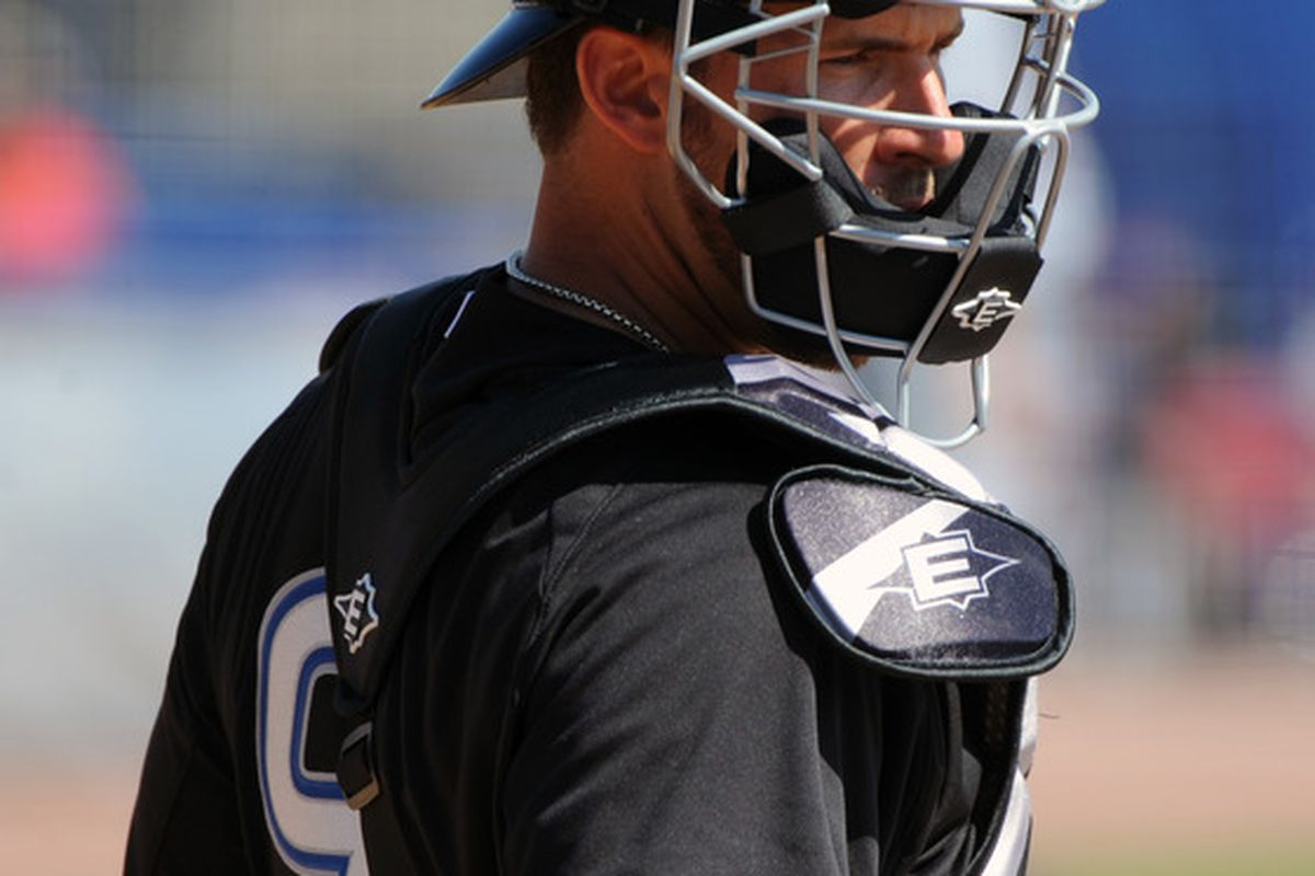 DUNEDIN, FL - FEBRUARY 26:  Catcher J. P. Arencibia #9 of the Toronto Blue Jays takes the field for play against the Detroit Tigers February 26, 2011 at Florida Auto Exchange Stadium in Dunedin, Florida.  (Photo by Al Messerschmidt/Getty Images)