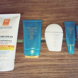 I'm really protective of my skin and always use SPF. <b>La Roche Posay</b> and <b>Shiseido</b> have been my go-to's for a long time. The formulas are gentle enough for daily use and remind me of summers in the south of France.