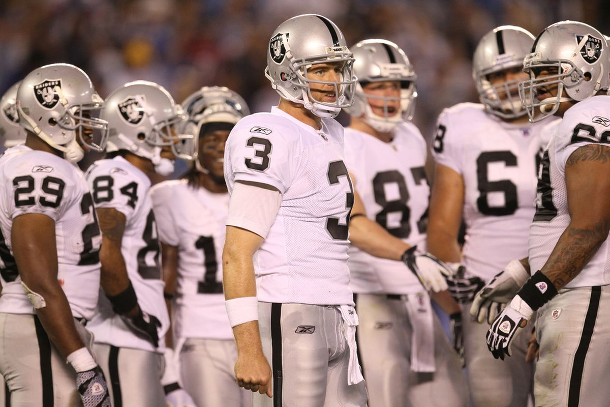 SAN DIEGO, CA - NOVEMBER 10:  Quarterback Carson Palmer #3 of the Oakland Raiders stands in the huddle against the San Diego Chargers at Qualcomm Stadium on November 10, 2011 in San Diego, California.  (Photo by Stephen Dunn/Getty Images)