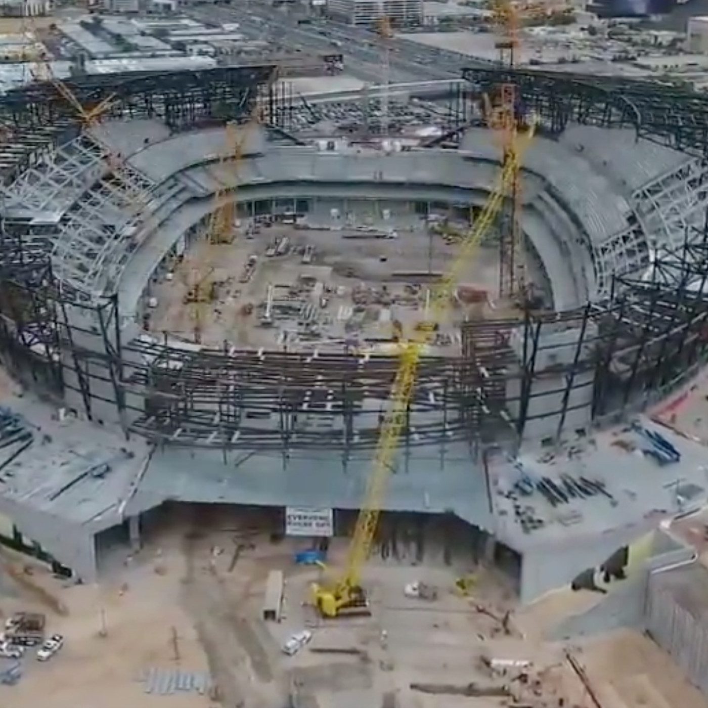 Watch Drone Footage Of Raiders Las Vegas Stadium Under Construction Silver And Black Pride
