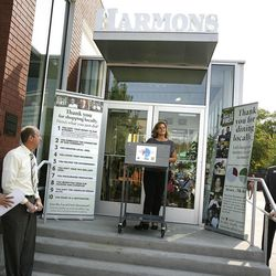 Nan Seymour, Local First executive director, speaks at the unveiling of a new economic study at Harmons in Salt Lake City on Wednesday, Aug. 15, 2012. Local business and civic leaders unveiled a new economic study that shows spending money at local businesses can have a bigger impact on the local economy than spending at national chains.
