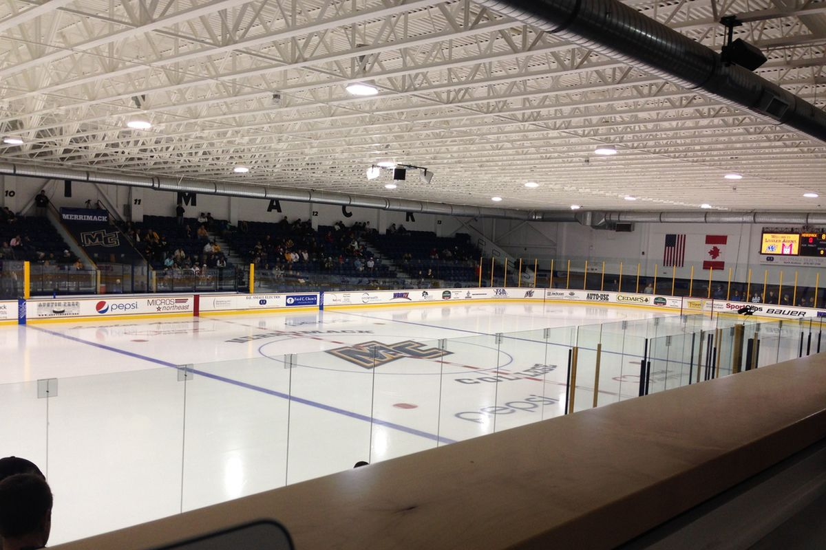 A view from the pressbox at Merrimack's Lawler Arena.