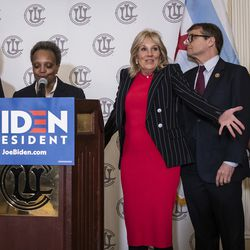 Former Second Lady Jill Biden reacts at the start of a press conference at the Union League Club, where (From left) U.S. Sen. Dick Durbin, Mayor Lori Lightfoot, U.S. Rep. Mike Quigley and U.S. Rep. Robin Kelly would endorse former Vice President Joe Biden for president, March 6, 2020.