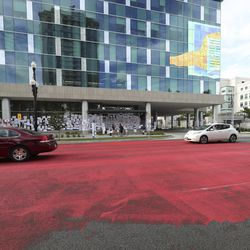 Family and friends of Bernardo Palacios-Carbajal painted the street red in protest in front of the Salt Lake County District Attorney's Office in Salt Lake City on Saturday, June 27, 2020. Palacios-Carbajal was shot and killed while fleeing police in May.