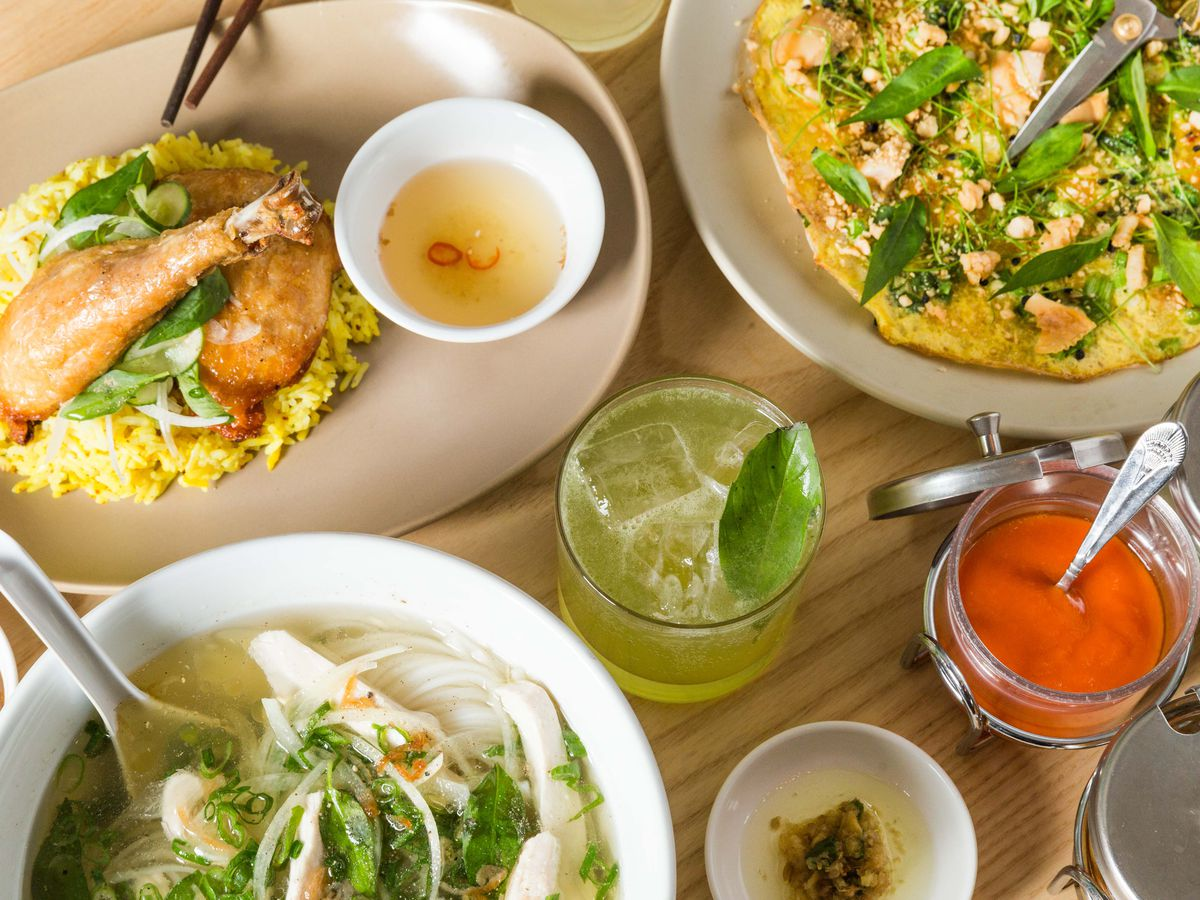Chicken over rice, pho ga, and clam pizza