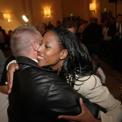 Republican 4th Congressional District candidate Mia Love hugs supporters at the Hilton  in Salt Lake City  Tuesday, Nov. 6, 2012.