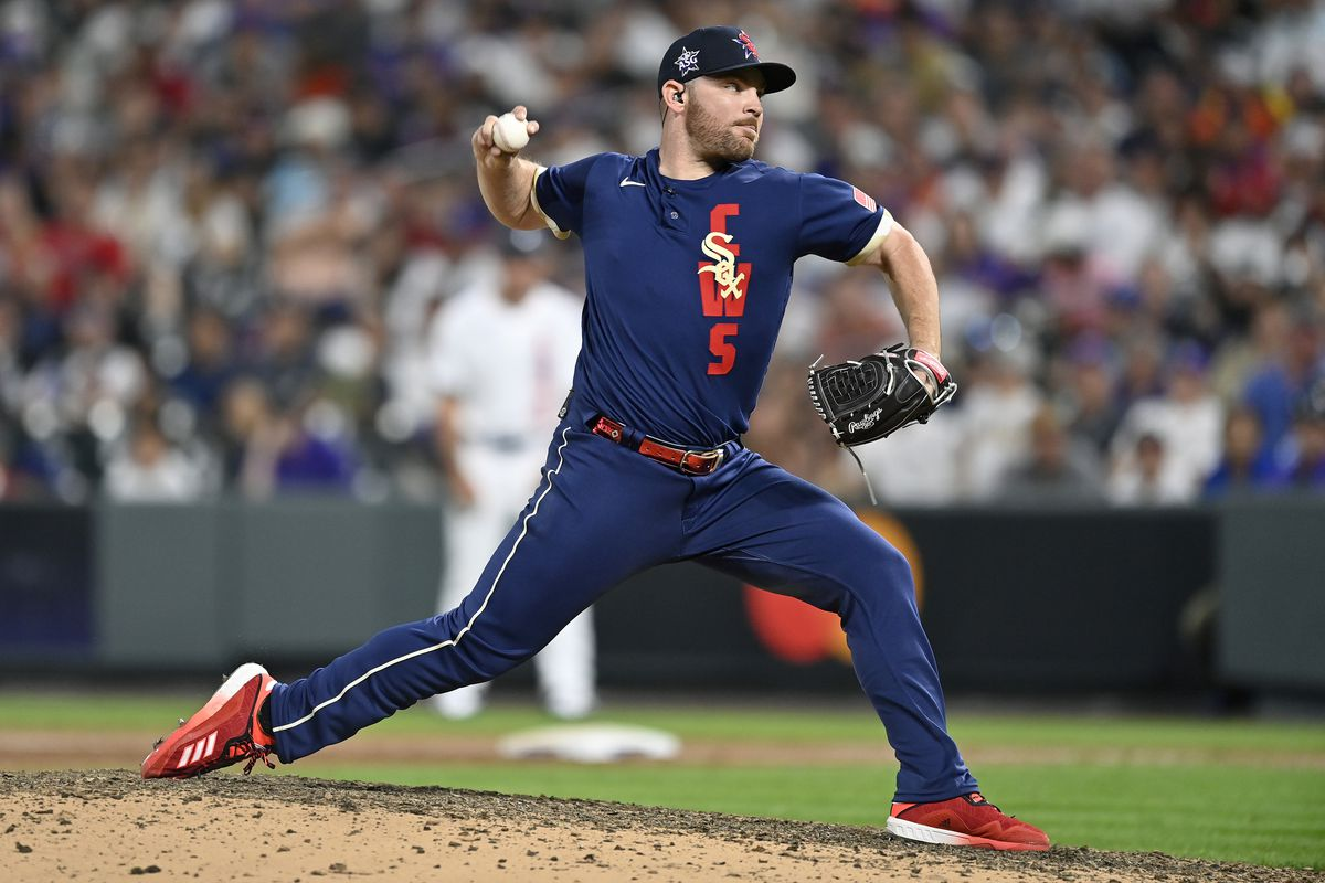 Liam Hendriks #31 of the Chicago White Sox pitches in the ninth inning during the 91st MLB All-Star Game at Coors Field on July 13, 2021 in Denver, Colorado.