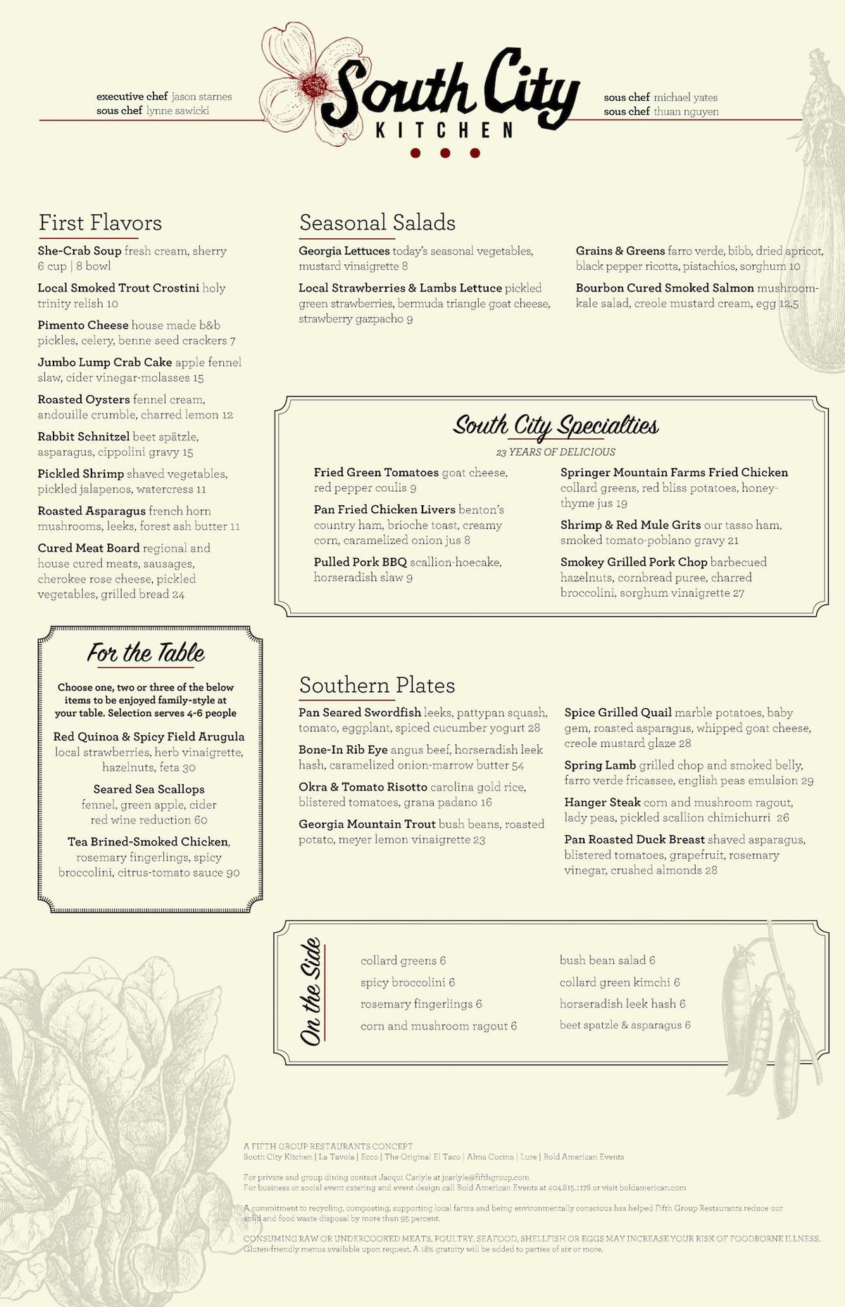 South City Kitchen Opens In Buckhead May Heres The Menu Eater - Table 24 menu