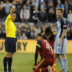 Sporting KC's Oriol Rosell receives a red card during a game at Sporting Park in Kansas City, Kan., on Saturday, April 5, 2014.