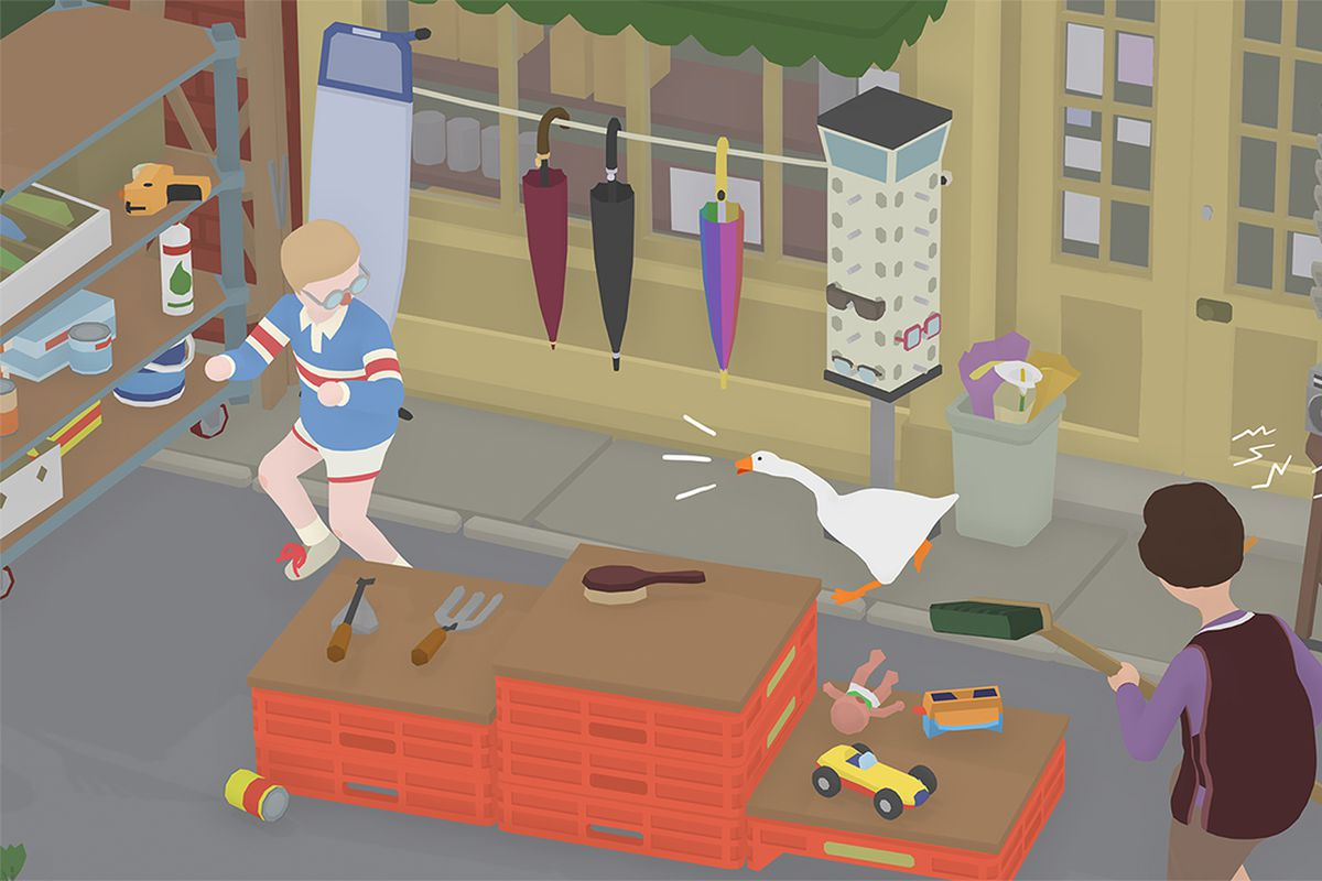 Causing a mess at the high street in Untitled Goose Game