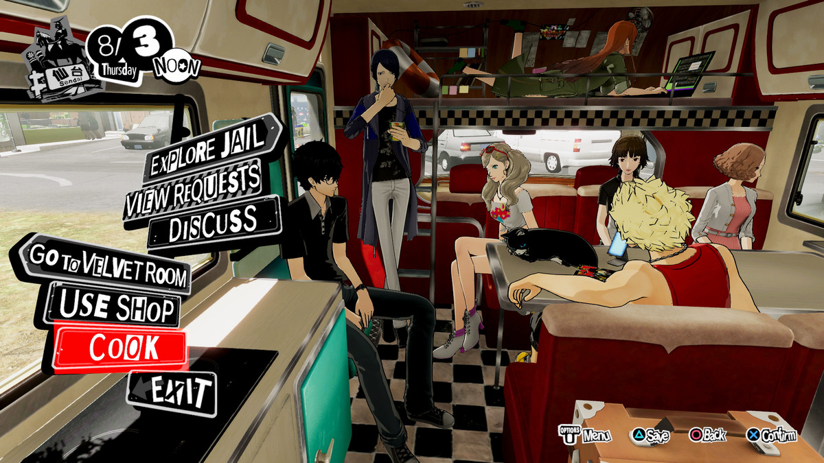 The Phantom Thieves chill out in the camper in Persona 5 Strikers