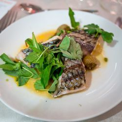 """Black Sea Bass with Green Tomatoes, Cardamom, Vanilla, Dandelion from The Dinner to End All Dinners at the NYCWFF by <a href=""""http://www.flickr.com/photos/wesbran/8081737804/in/pool-eater/"""">wesleyrosenblum</a>"""