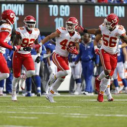 Kansas City Chiefs strong safety Daniel Sorensen (49) celebrates with teammates after intercepting a pass during the first half of an NFL football game against the New York Giants Sunday, Nov. 19, 2017, in East Rutherford, N.J. (AP Photo/Kathy Willens)
