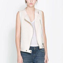 """<strong>Zara</strong> Combined Waistcoat with Zips, <a href=""""http://www.zara.com/us/en/woman/blazers/combined-waistcoat-with-zips-c269184p1378537.html"""">$89.90 </a>"""