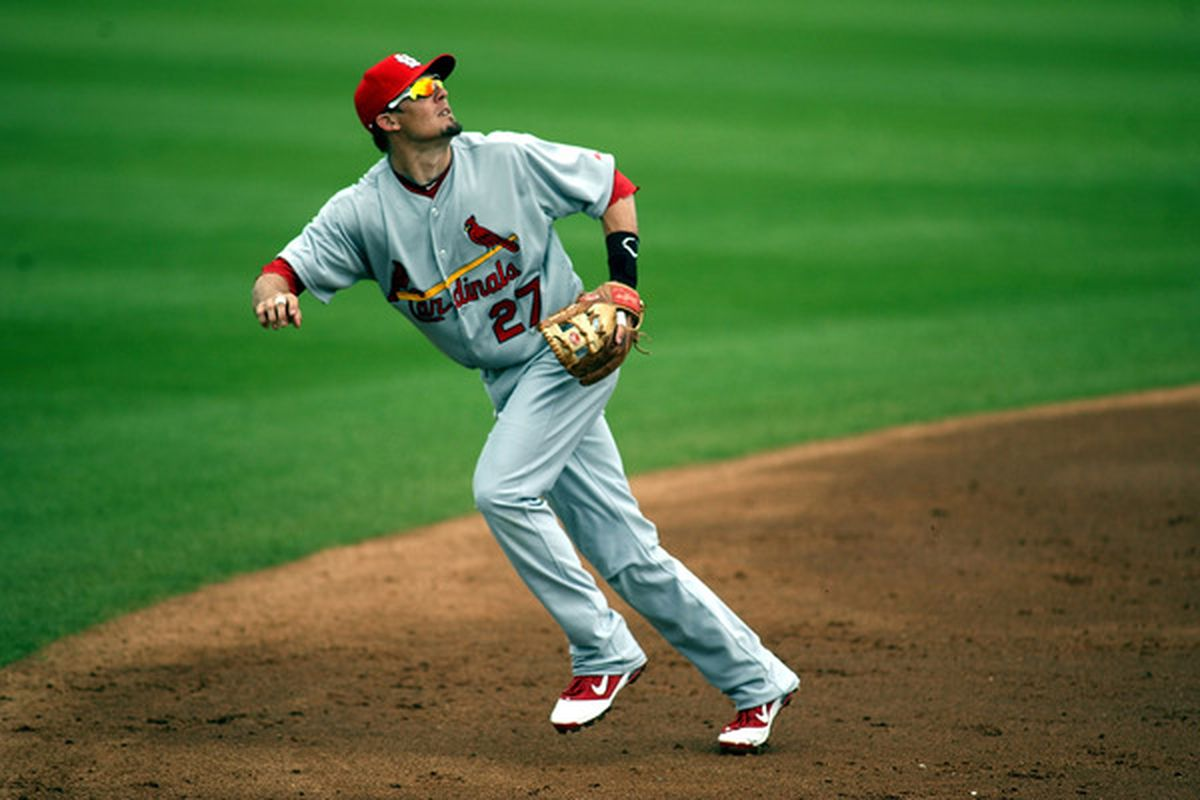 PORT ST. LUCIE, FL - MARCH 03: Tyler Greene #27  of the St. Louis Cardinals plays the field against the New York Mets at Digital Domain Park on March 3, 2011 in Port St. Lucie, Florida.  (Photo by Marc Serota/Getty Images)