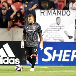 Real Salt Lake goalkeeper Nick Rimando (18) prepares to kick the ball into play as RSL and the Seattle Sounders play at Rio Tinto Stadium in Sandy, Utah, on Wednesday, Aug. 14, 2019. RSL won 3-0.