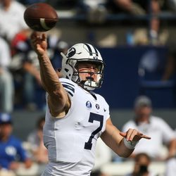 Brigham Young Cougars quarterback Beau Hoge (7) fires off a pass during the game against the Wisconsin Badgers at LaVell Edwards Stadium in Provo on Saturday, Sept. 16, 2017.