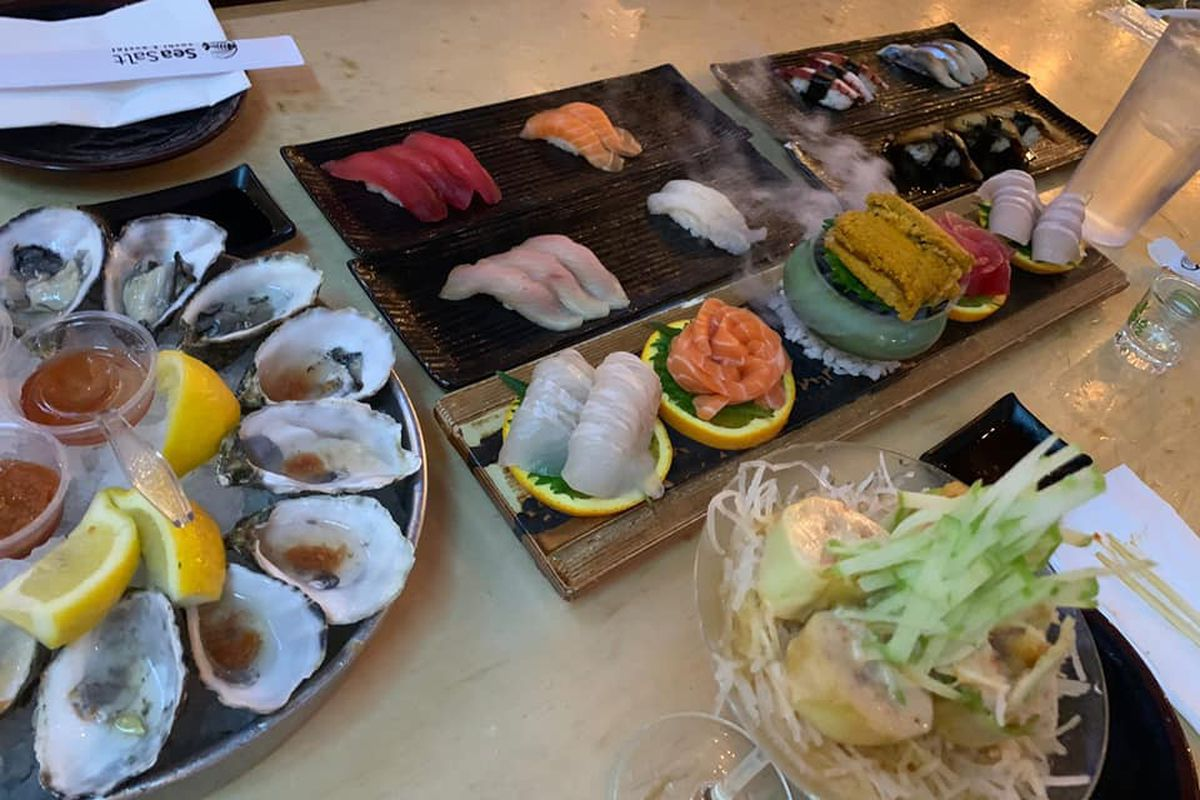 Oysters, sushi and sashimi, on the all-you-can-eat menu headed to Chinatown from SeaSalt Sushi & Oyster.