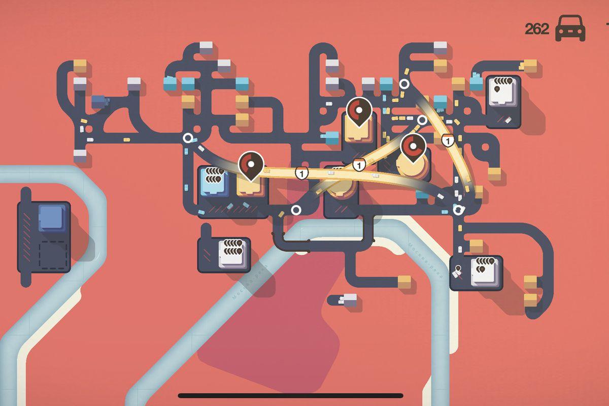 A screenshot from my terrible but beautiful Mini Motorways game