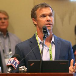 Hoby Darling, CEO of Skullcandy, speaks at a press conference at the Salt Lake Marriott Downtown at City Creek in Salt Lake City on Thursday, Aug. 4, 2016. During the press conference, representatives of leading sports, ski, health and outdoor companies urged President Barack Obama to permanently protect the Bears Ears region in southeastern Utah.