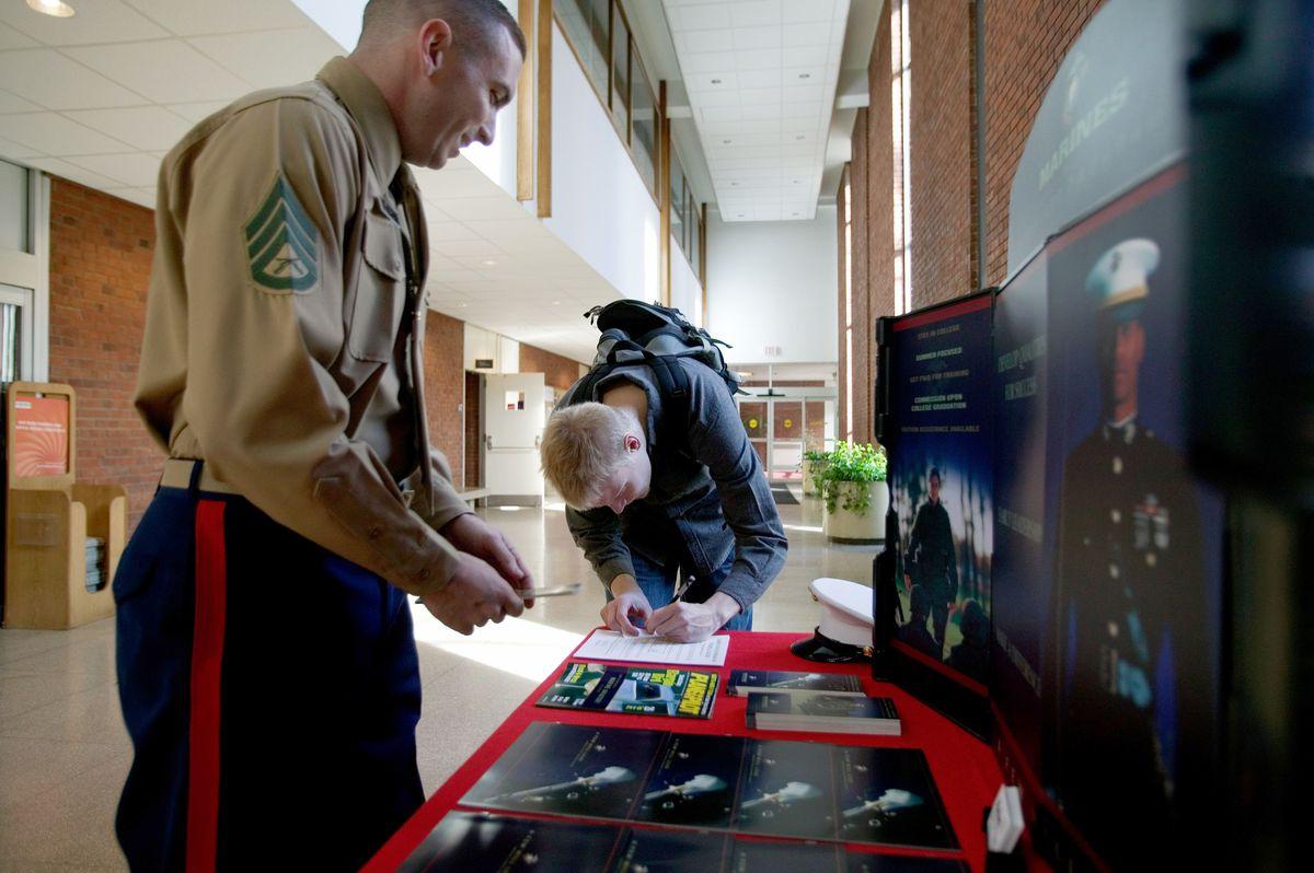 U.S. Marines Speak With Rutgers University Undergrads During A Recruitment Drive