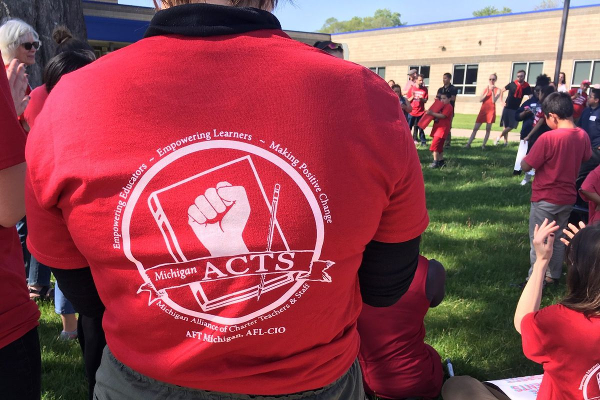 Unionized teachers at the Southwest Detroit Community School gathered last month to demand a new contract.