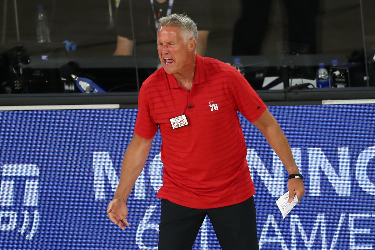 Philadelphia 76ers head coach Brett Brown reacts after receiving a technical foul against the Boston Celtics during the third quarter in game four of an NBA basketball first-round playoff series at The Field House.