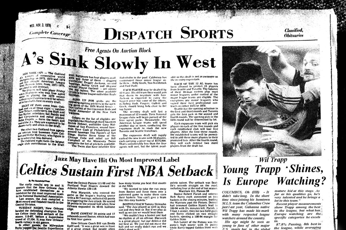 1976 Dispatch Sports Page with a new photo, story 'shopped in