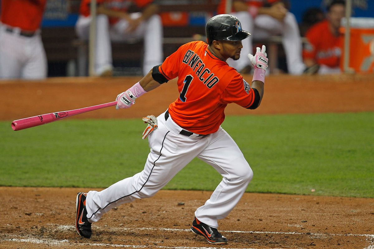 MIAMI, FL - MAY 13: Emilio Bonifacio #1 of the Miami Marlins bats during a game against the New York Mets at Marlins Park on May 13, 2012 in Miami, Florida.  (Photo by Sarah Glenn/Getty Images)