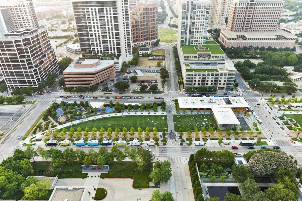 An aerial view of Klyde Warren Park and the Arts District in Dallas, TX.