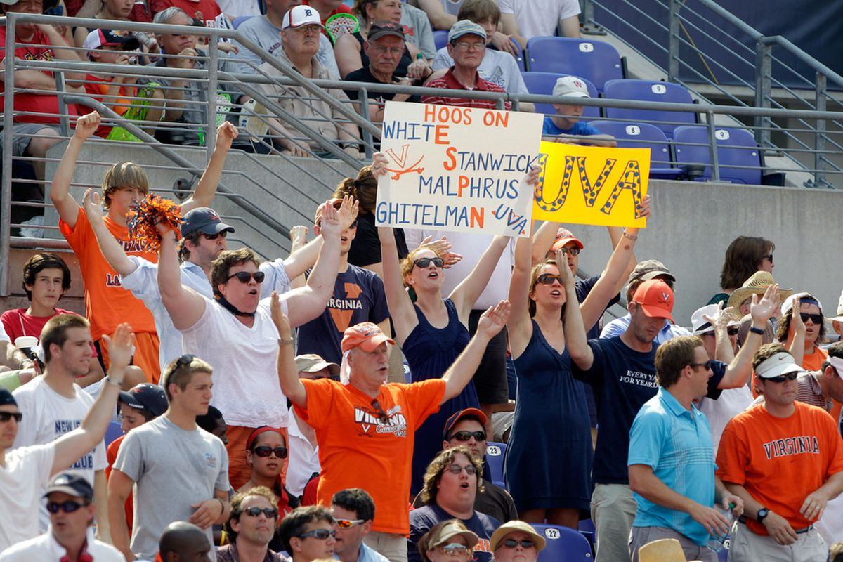 BALTIMORE, MD - MAY 30: Virginia Cavaliers' fans celebrate a goal against the Maryland Terrapins during the first half at M&T Bank Stadium on May 30, 2011 in Baltimore, Maryland.  (Photo by Rob Carr/Getty Images)