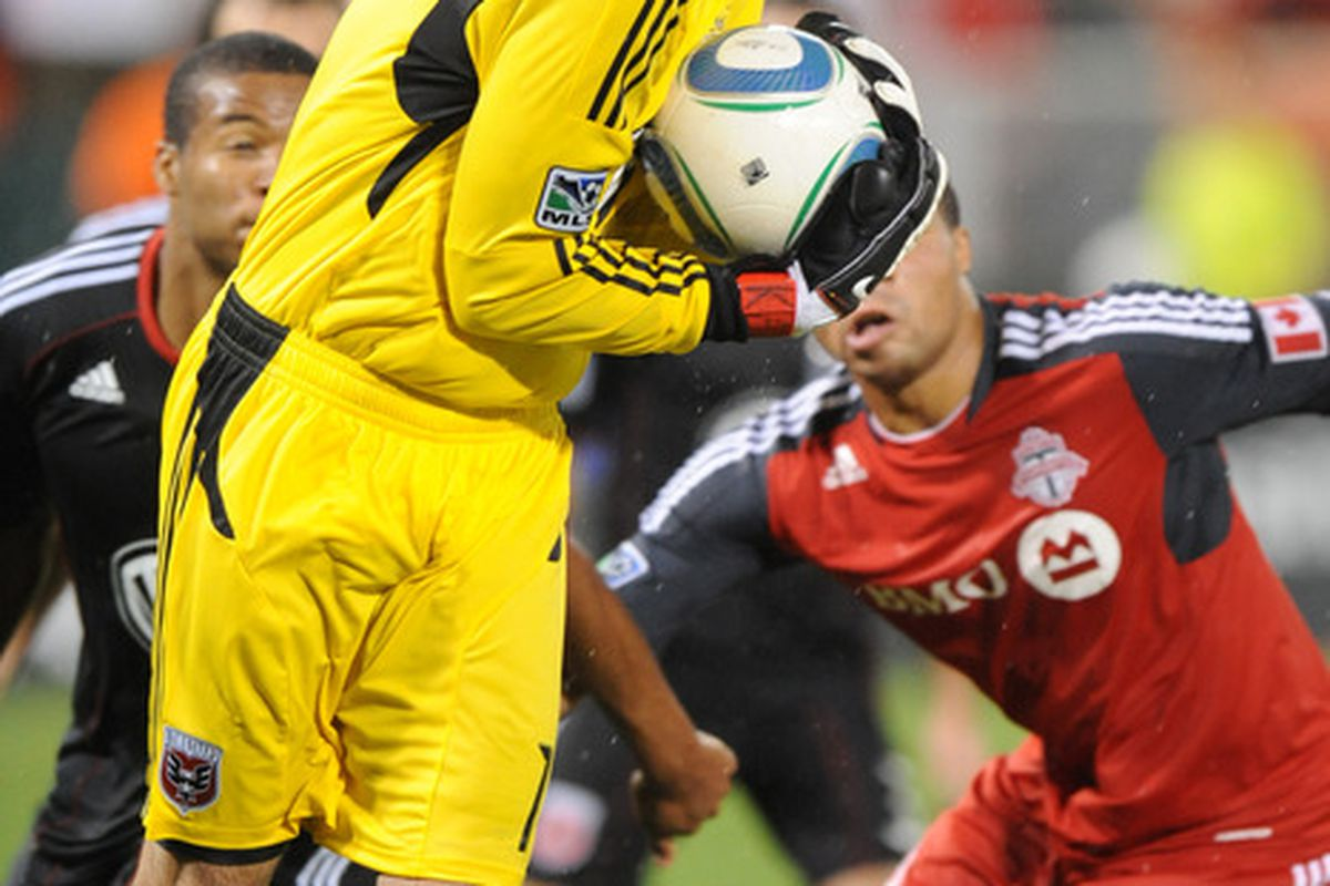 WASHINGTON, DC - AUGUST 6:  Steve Cronin #1 of DC United makes a save during a soccer game against Toronto FC at RFK Stadium on August 6, 2011 in Washington, DC.  The game ended in 3-3 tie.  (Photo by Mitchell Layton/Getty Images)
